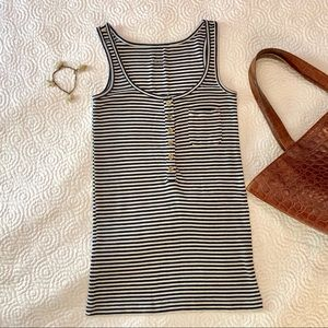 J. Crew striped tank with brass buttons